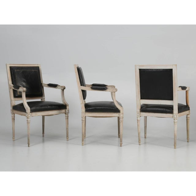 Louis XVI Style Armchairs in Original Paint and Black Leather - Set of 4 For Sale - Image 4 of 13