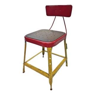 Vintage Industrial Yellow Metal Side Chair