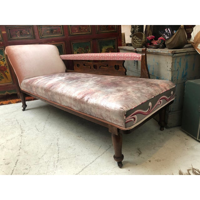 1920s Art Nouveau Plush Pink Chaise Lounge For Sale - Image 11 of 11