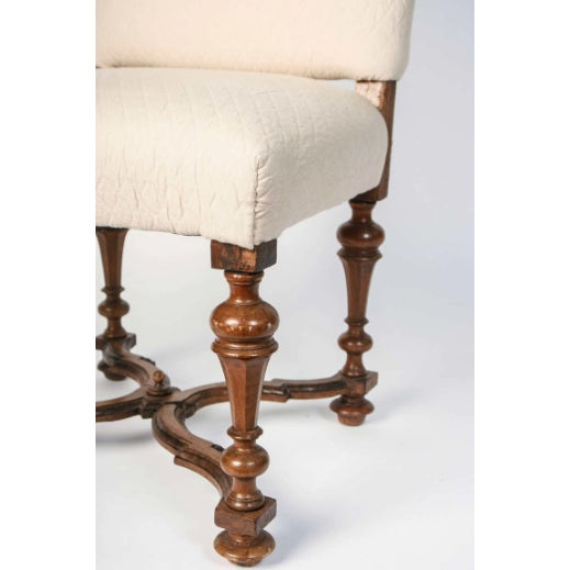 Early 19th Century 19th Century Italian Walnut Side Chairs in Brown Linen - Set of 4 For Sale - Image 5 of 7