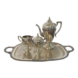Early 20th Century Silver Tea Service on Tray - Set of 5 For Sale