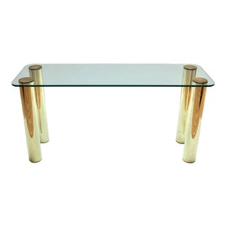 1970s Glass and Brass Pace Collection Console Table by Leon Rosen For Sale