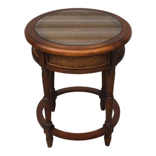 1940s French Country Wooden Side Table With Caning Detailing and Glass Top For Sale