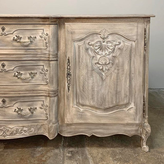 Early 20th Century Antique French Louis XV Whitewashed Buffet For Sale - Image 5 of 13