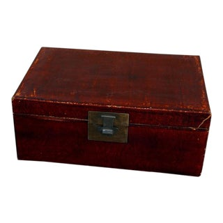 1900s Chinese Style Brown Leather Trunk For Sale