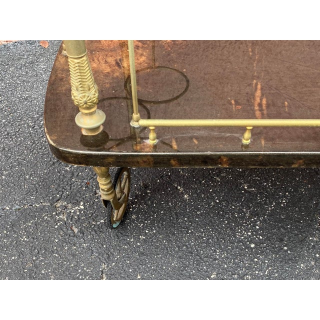 Vintage Aldo Tura Goatskin Bar Cart For Sale In Miami - Image 6 of 13