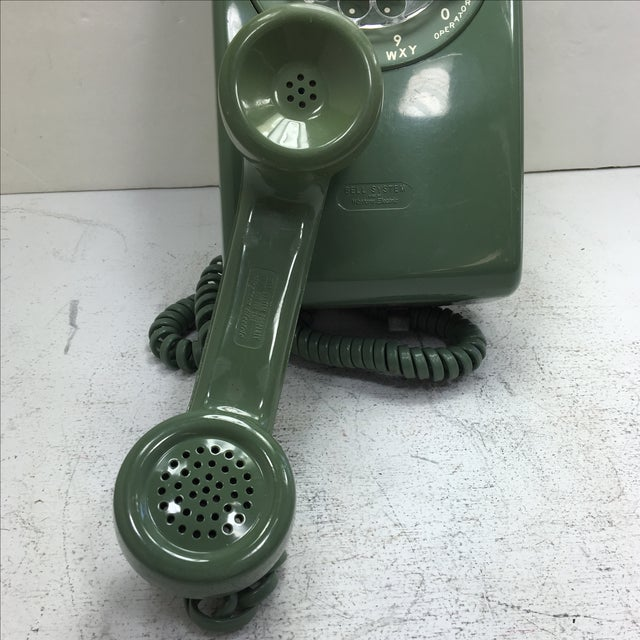 Moss Green Western Electric Rotary Dial Wall Phone - Image 10 of 11