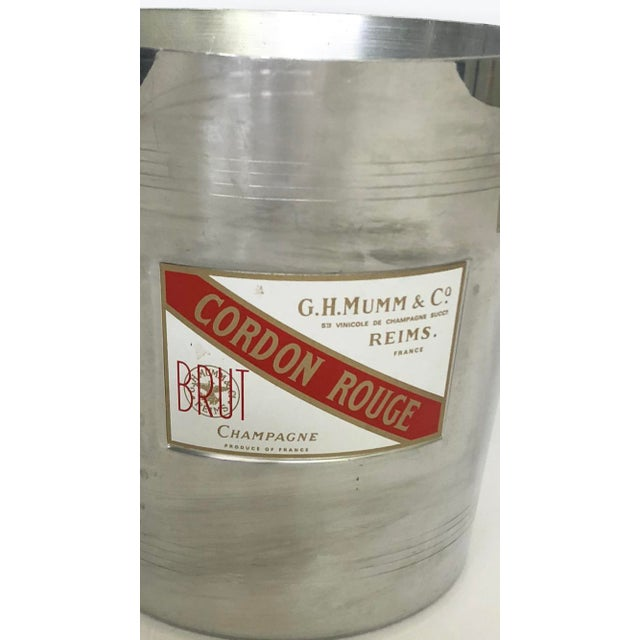 Boho Chic Vintage Mumm & Co. Cordon Rouge French Champagne Ice Bucket For Sale - Image 3 of 9