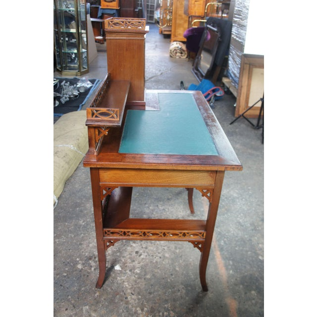 Gothic Antique Victorian German Desk Green Vinyl Top Gothic Pierced Fret Board Writing Desk For Sale - Image 3 of 13