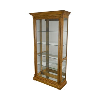 Oak Lighted Curio Display Cabinet For Sale