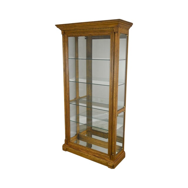 Oak Lighted Curio Display Cabinet