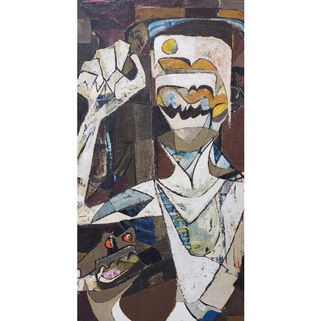 Abstract Abstract Portrait of Boy With His Dog Painting C.1940 For Sale - Image 3 of 12