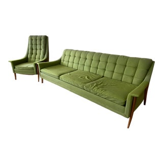 1960s Mid-Century Kroehler Avant Design Green Cloth and Wood Sofa and Side Chair For Sale
