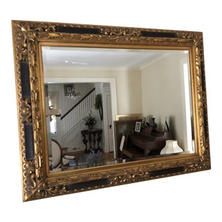 Gold and Dark Brown Beveled Mirror For Sale