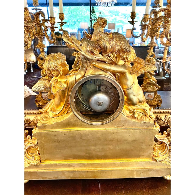 19th. C. French Louis XVI Dore Bronze Garniture Set For Sale - Image 11 of 13
