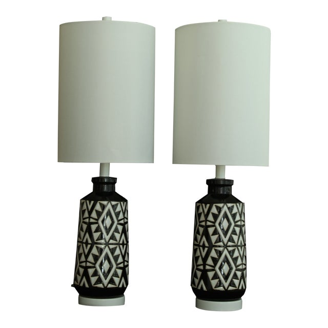 Geometric Ceramic Table Lamps - A Pair For Sale