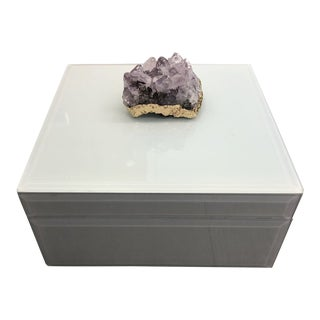 Amethyst Geode White Glass Box With Velvet Lining For Sale