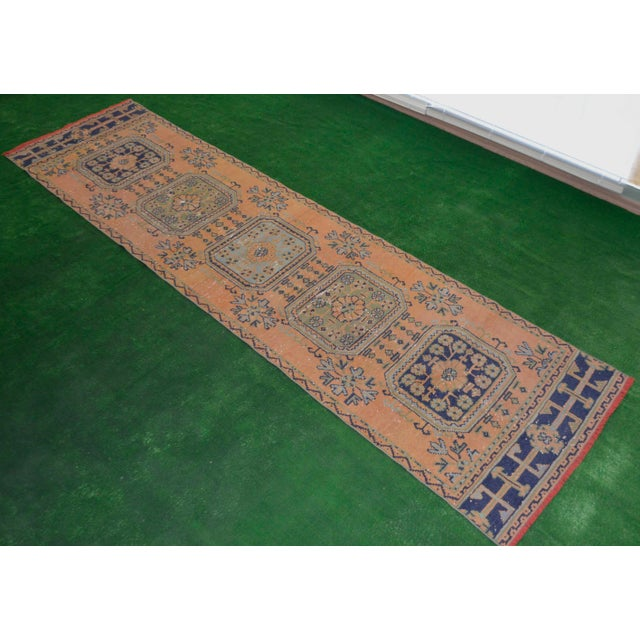 "Distressed Oushak Rug Runner - 2'11"" x 11'1"" - Image 8 of 8"