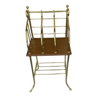 Vintage Brass and Wood Magazine Rack For Sale