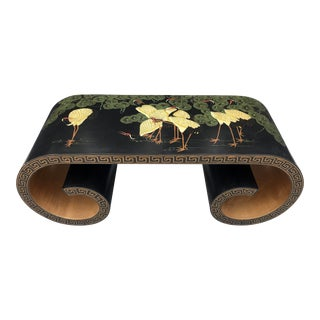 Japanese Red-Crowned Cranes Scroll Coffee Table For Sale