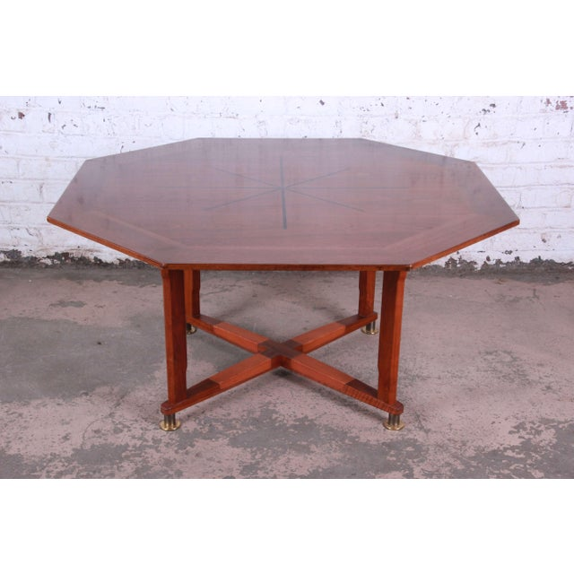 Offering an excellent Edward Wormley for Dunbar Janus Collection game table or lower dining table. This octagonal table...