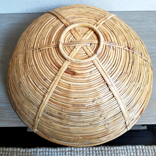 1900 - 1909 Coiled Bamboo Basket Bowl For Sale - Image 5 of 6