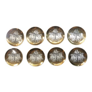 Piero Fornasetti for Saks Fifth Avenue Roman Chariot Coasters - Set of 8 For Sale