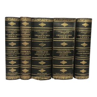Antique Leather Decorative Chemistry Books - Set of 5 For Sale