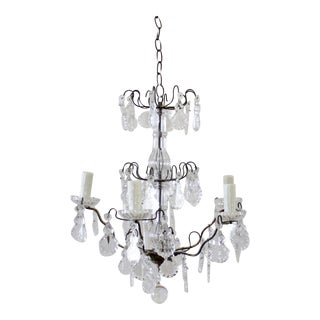 Small French Bronze Style Chandelier With Crystals For Sale