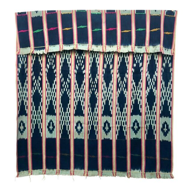 Vintage Pink & Indigo African Baule Cloth Textile For Sale