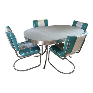 1970s Mid-Century Modern Turquoise and White Chrome Dining Set - Set of 5