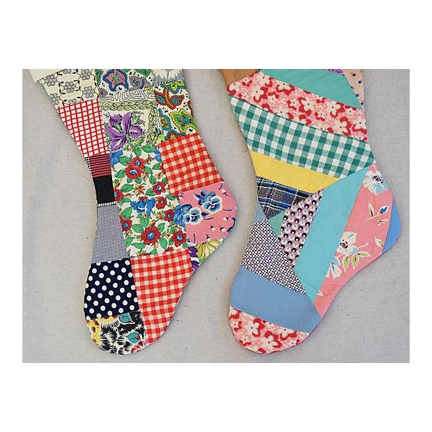 "Large 22"" Custom Tailored Patchwork Quilt Christmas Stockings - Pair For Sale In Los Angeles - Image 6 of 7"