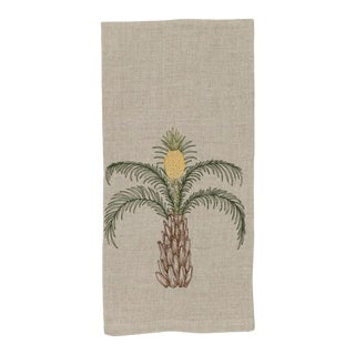 2010s French Ecru Linen Pineapple Palm Tree Tea Towel