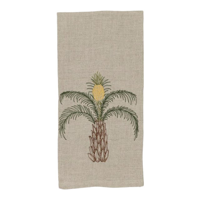 2010s French Ecru Linen Pineapple Palm Tree Tea Towel For Sale