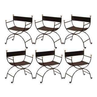 19th Century Italian Iron and Black Leather Folding Campaign Chairs, - Set of 6 For Sale