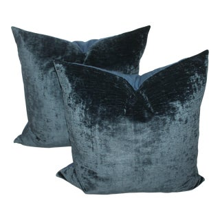 Pair fof Indigo Velvet Pillows For Sale