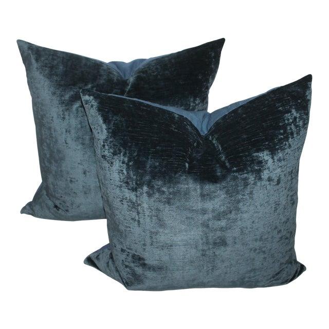 Pair fof Indigo Velvet Pillows For Sale
