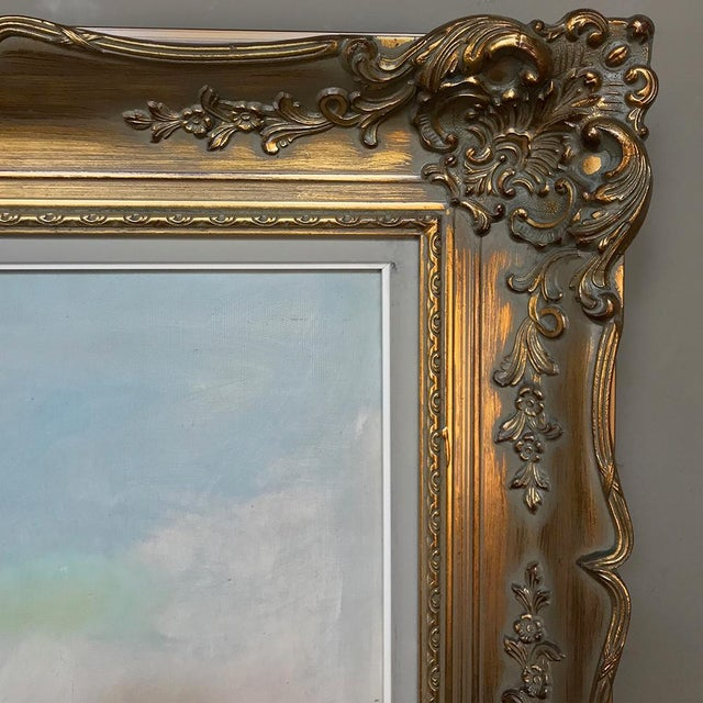 Canvas Antique Framed Oil Painting on Canvas by Pauwels For Sale - Image 7 of 13