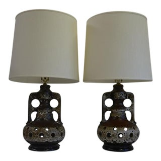 Vintage Walter Gerhards West German Table Lamps - a Pair