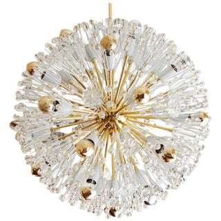 Rare Large Brass and Glass Sputnik Chandeliers by Emil Stejnar For Sale