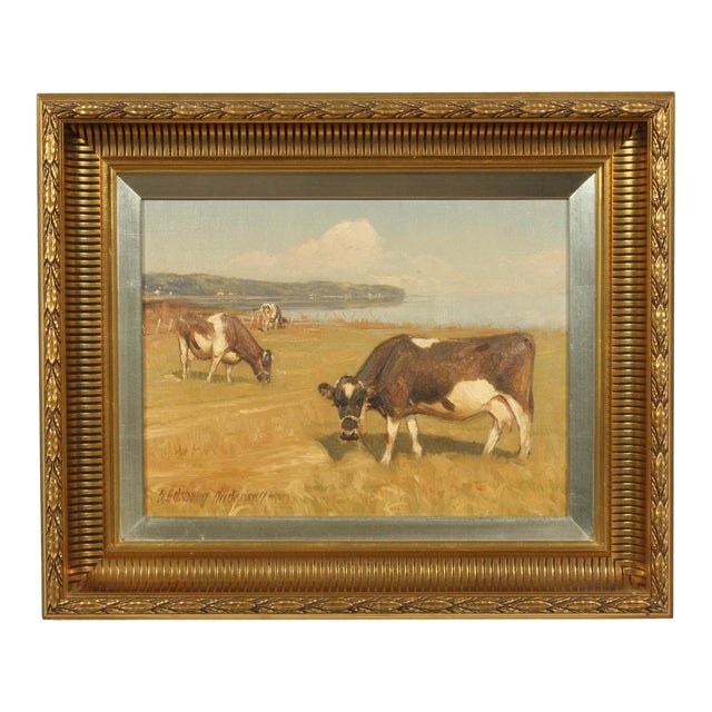 Late 20th-Century Realist Oil Painting of Cows Grazing in a Field by S?ren Edsberg Andersen For Sale