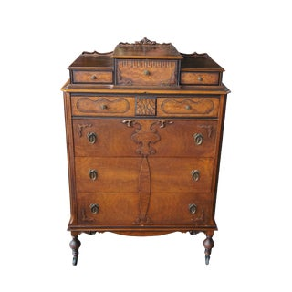 20th Century Art Deco Walnut Tallboy Dresser For Sale