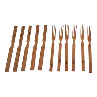 Vintage Japanese Bamboo Knives & Forks - Set of 11