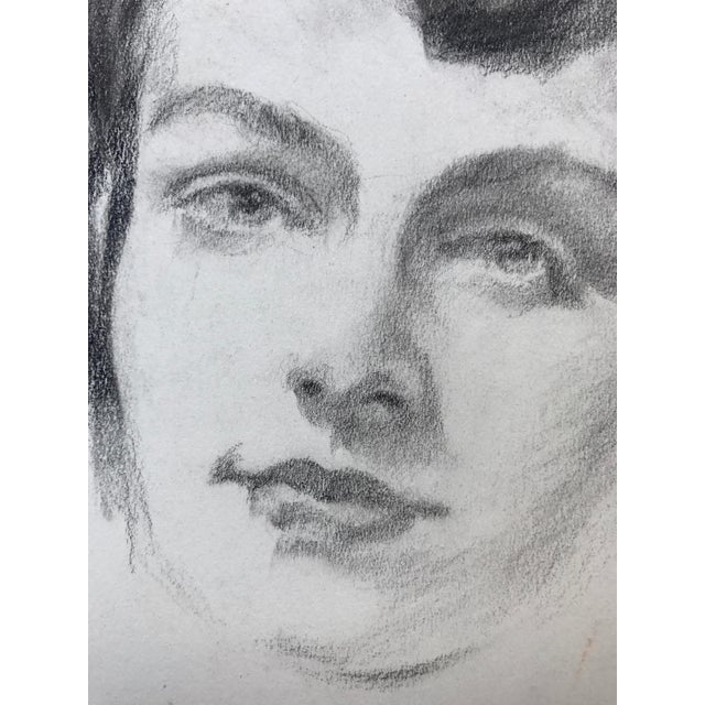 1950s Vintage Mid Century Pencil Drawing Portrait of a Woman C.1950s For Sale - Image 5 of 5