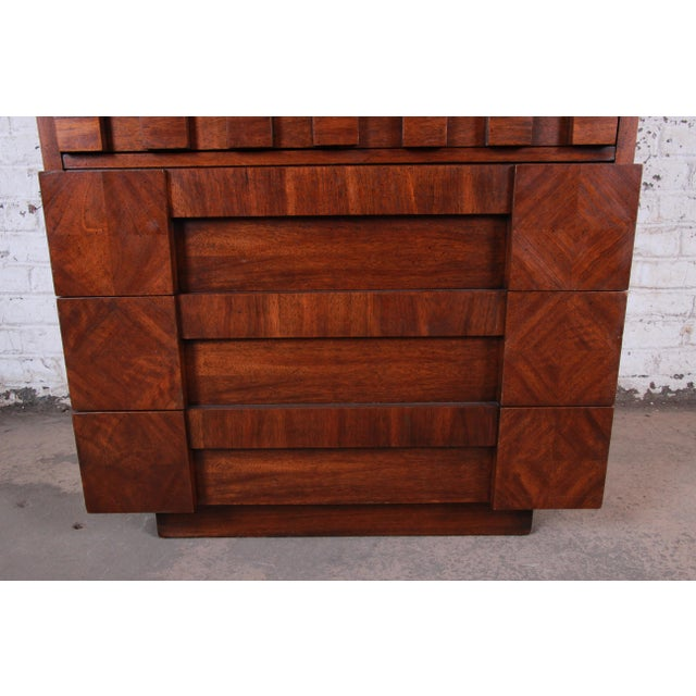 Paul Evans Style Mid-Century Modern Brutalist Walnut Armoire Dresser by Lane For Sale - Image 9 of 13