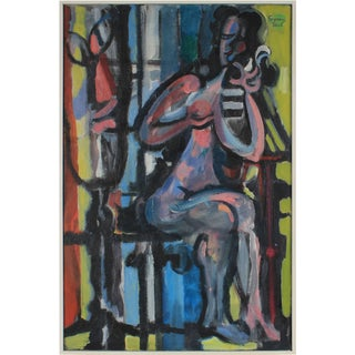 """Seymour Tubis """"The Face in the Mirror"""" Cubist Figure Painting in Oil, 1959 1959 For Sale"""
