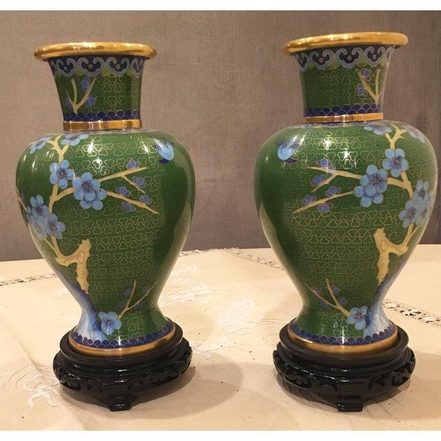 Green & Blue Floral Cloisonne Vases - A Pair - Image 3 of 8