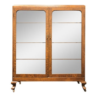 Antique Quartersawn Tiger Oak Curio Cabinet / Bookcase Circa 1900 For Sale