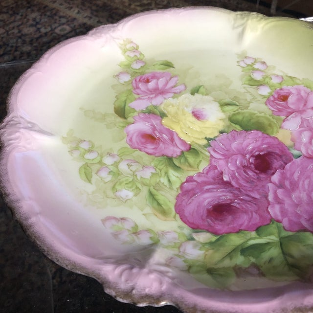 Shabby Chic Vintage Hand Painted and Signed Vintage Bavarian Charger Plate For Sale - Image 3 of 13