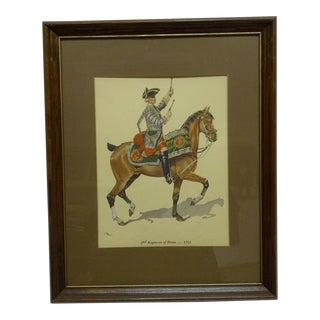 """""""2nd Regiment of Horse - 1751"""" Framed & Matted Color Print For Sale"""